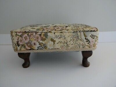 £27.99 • Buy Vintage Sherborne Foot Stool/Seat-Queen Anne Style Wooden Legs-Tapestry 7  High