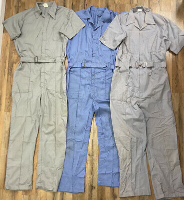 $4.25 • Buy Vintage Coveralls 3 PAIRS Work Farm One Piece Jumpsuits Men's Large 42 Reg *fLaw