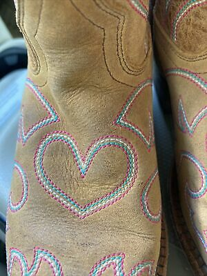 $53.40 • Buy Cowgirl Boots MACIE BEAN BOOTS - Suede EMBROIDERED Heart Sz 2 Brown Pink