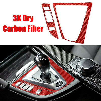 $64.49 • Buy For BMW M3 M4 F80 F82 2* REAL Red Carbon Fiber Gear Shift Panel Cover 2014-2018