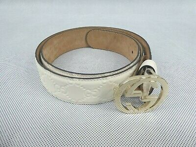 $141.46 • Buy Genuine Gucci Men's Leather Belt Logo Design White 95 W/ Dust Bag Used Condition