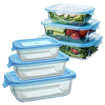 £11.99 • Buy 3 Piece Glass Food Storage Containers Kitchen Oven Microwave Safe BPA Free Lids
