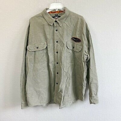 $30.25 • Buy Harley Davidson Khaki Corduroy Long Sleeve Embroidered Patch Button Up Mens 3XL