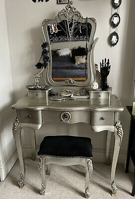 £12 • Buy French Style Champagne Silver Dressing Table Makeup Mirror Vanity Desk Stool Set