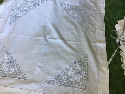 """£8 • Buy Antique Irish Linen Tablecloth Hand Crochet Lace Inserts Hemstitched 44"""" 44"""""""
