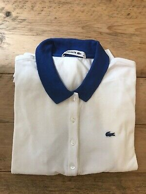 £19.99 • Buy Lacoste Womens White And Blue Polo Size FR 40 (UK 10)