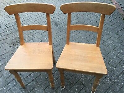 £39.99 • Buy Pair Of Solid Beech Farmhouse Dining Kitchen Chairs