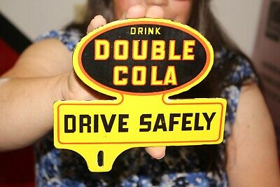 $ CDN12.53 • Buy Double Cola Drive Safely Plate Topper Soda Pop Gas Oil Porcelain Metal Sign