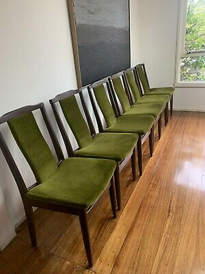 AU380 • Buy 6 Parker? T-Back Mid Century Retro Vintage Teak Timber Dining Chairs