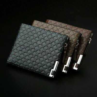 £5.95 • Buy Men Luxury Leather Soft Wallet Credit Card Holders Coin Purse With Zipper Black