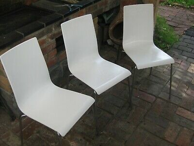 AU80 • Buy 3 X Dining Chairs (HIREK) Made In Italy (Modern / Slim / White) Rock Solid