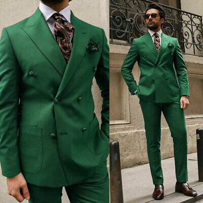 $99.80 • Buy Green Men Suits Peak Lapel Double Breasted Business Groom Formal Tuxedos Blazer