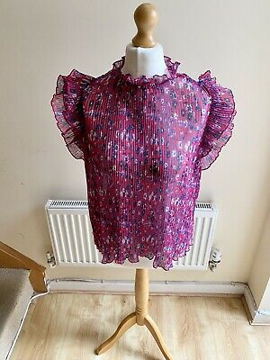 $ CDN38.07 • Buy Anthropologie Sheer Pleated Floral Top Large Ruffle Sleeves Size S BNWT Pink