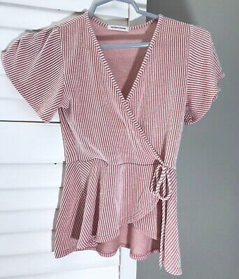 $ CDN24.88 • Buy Caution To The Wind Anthropologie Striped Short Sleeve Shirt Top XS X Small