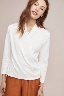 $ CDN11.33 • Buy Maeve Anthropologie White Wrap Top Size L 3/4 Sleeves Cotton Blend