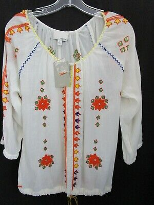 $ CDN37.75 • Buy ANTHROPOLOGIE GREYLIN Floral  Embroidery Blouse Peasant Top Sz L NWT *SHIPS FREE