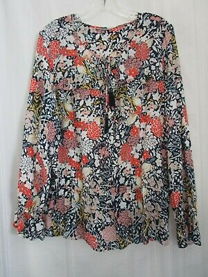 $ CDN28.94 • Buy ANTHROPOLOGIE Multi-colored Floral Flower Blouse Peasant Top Size XL *SHIPS FREE