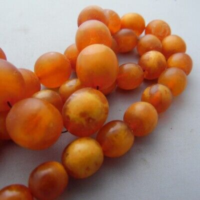£144.21 • Buy Antique Baltic Amber Old Butterscotch Natural Beads Necklace 波羅的海琥珀*