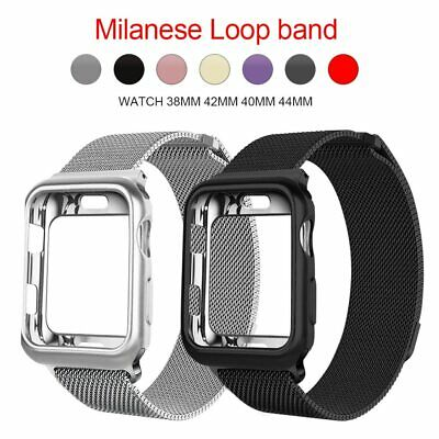 AU10.69 • Buy Milanese Loop Magnetic Band Strap + Case 44/42/40/38mm For Apple Watch 5/4/3/2/1