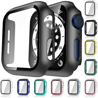$ CDN4.99 • Buy For Apple Watch IWatch Series SE 6 5 4 3 2 1 Case Full Glass Cover 38 40 42 44mm