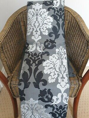 £40 • Buy Grey Black Silver Damask Curtains Lined Full Length Baroque B&Q 90 X 90  NEW