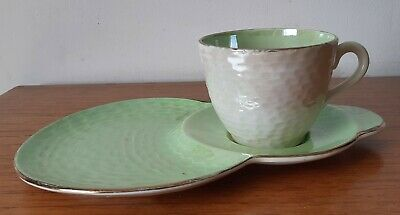 £14.99 • Buy Vintage Maling Lustre Ware Green Tennis Set Cup And Saucer