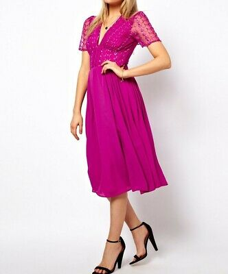 AU30 • Buy New With Tags ASOS Pink Embroidered Lace Midi Dress With Sheer Back Size 14
