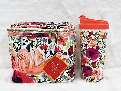 $ CDN89.62 • Buy NWT Kate Spade Lunch Tote Bag, Lined And Matching Thermal Travel Cup Mug Floral