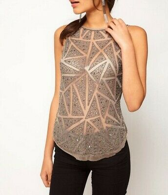 AU25 • Buy New With Tags ASOS Grey Heavy Beaded Embellished Sheer Singlet Tank Top Size 16