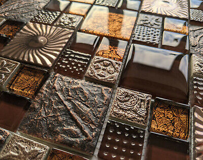 £8.98 • Buy Ancient Nature Design Textured Stone Metal Glass Copper Brown Mosaic Wall Tiles