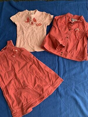 £8.99 • Buy Jean Bourget Girls Salmon Pink 3 Piece Designer Outfit Size 94eu Age 3 Years