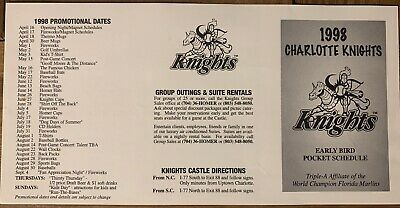 £1.81 • Buy 1998 Charlotte Knights Early Bird Pocket Schedule - NOT FOLDED