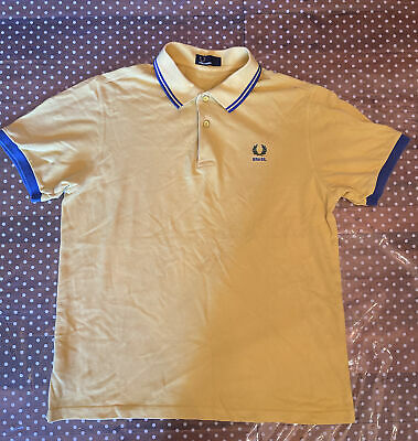 £30 • Buy FRED PERRY Brasil Polo Shirt | Yellow And Blue Accent | UK Large