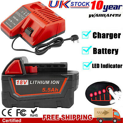 £19.59 • Buy 18Volt For Milwaukee M18 Li-ion Extended Capacity Battery 48-11-1850 Charger LED