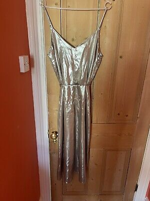 £4.99 • Buy River Island Gold Silver Shimmer Strappy Jumpsuit 12