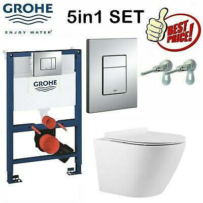 £149 • Buy Grohe 0.82m Concealed Cistern Wc Frame With Compact Rimless Wall Hung Toilet Pan