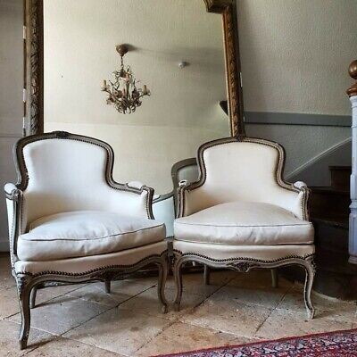 £695 • Buy French Chair, Antique Pair Louis XV Style Bergere Armchairs