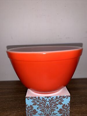 $18.99 • Buy Vintage Pyrex 401 Flame Glo Orange Red Milk Glass Nesting Mixing Bowl Preowned