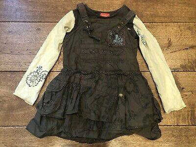 £20 • Buy Marese Girls Outfit Khaki Military Embroidered Combat Dress Top Green Yellow Wow