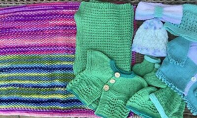 £6 • Buy New Hand Knitted Baby Cardigans, Hats & Blanket Bundle