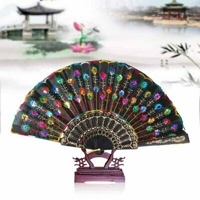 £5.55 • Buy 3pcs Vintage Folding Fans Peacock Feather Hand Hold Fans Dancing Party Decors