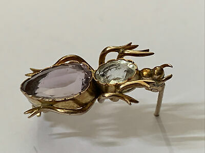 £41 • Buy Antique Victorian/Edwardian 9ct Gold Past Stone Set Beetle Bug Pin Brooch