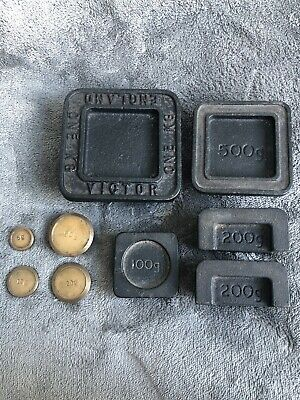 £29.90 • Buy Victor Set Of 9 Vintage Metric Cast Iron Chrome Weights Square 5-1kg-5g Balanced
