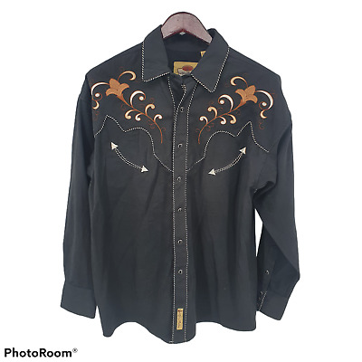 $25.89 • Buy Larry Mahan Western Shirt Mens L Pearl Snap Embroidered Rockabilly Heavyweight
