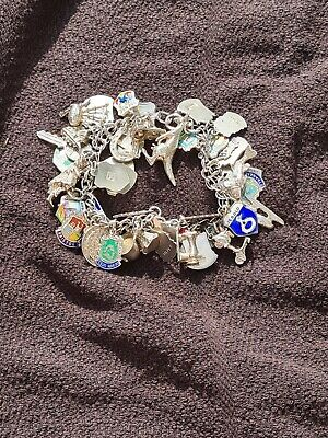 £50 • Buy Vintage Silver Charm Bracelet 47 Charms And  83 Grams In Weight
