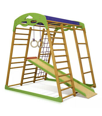 £259 • Buy Wooden Indoor Climbing Frame With Slide And Rings