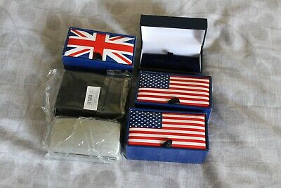 £7.99 • Buy 6 New Assorted Cufflink Storage Display Boxes Union Jack USA Flag Bargain Gift