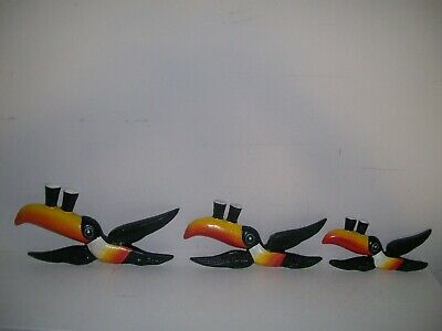 £45 • Buy Set Of 3 Vintage Design Flying Guinness Toucans Hand Painted Cast Iron