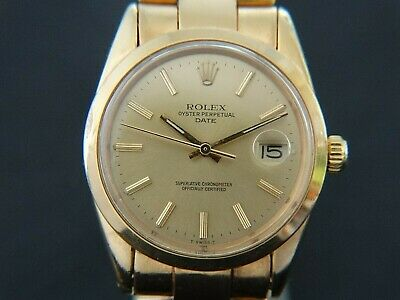 AU2887.42 • Buy VTGE RARE ROLEX OYSTER DATE 1550 C.1570 18K GOLD PLATED MEN WATCH. SERVICED. 70s