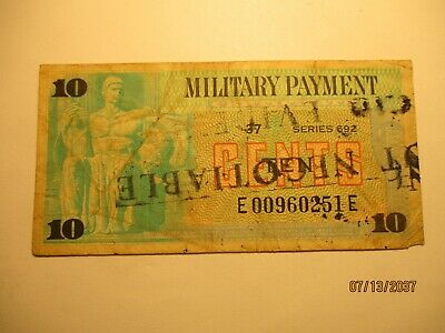 $100 • Buy Military Payment Certificate Series 692 Evidence Rare .10 Stamped Evidence Only
